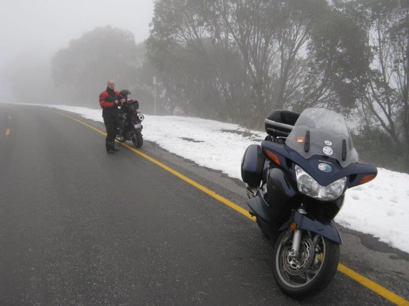 Rick and I encountered snow at Falls creek