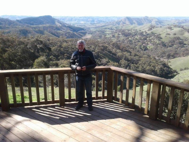 Tez at the Murchison Gap Lookout - The second example of hiccups today!