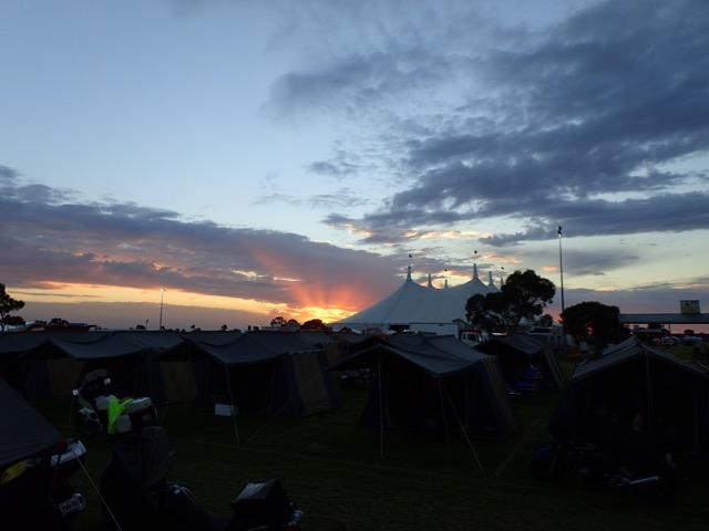 sunset over the big tent